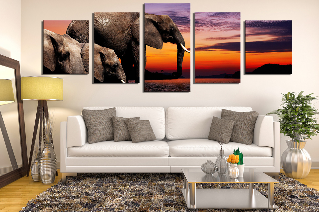 Elephant Wall Decor 5 piece huge canvas print, elephant wall art, panoramic canvas