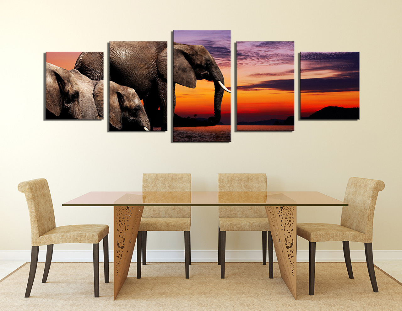 5 piece huge canvas print elephant wall art panoramic for Elephant wall mural