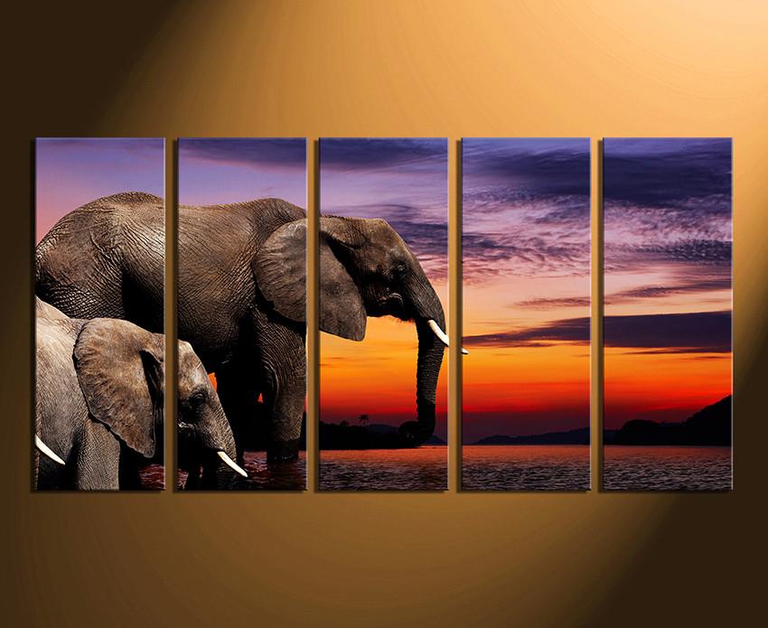 5 Piece Multi Panel Canvas, Elephant Wall Art, Animal Huge Canvas ...