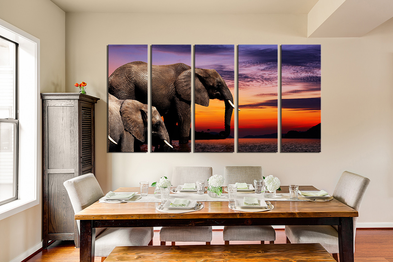 5 piece multi panel canvas elephant wall art animal huge canvas 5 piece photo canvas dining room canvas print wildlife canvas wall art animal amipublicfo Image collections