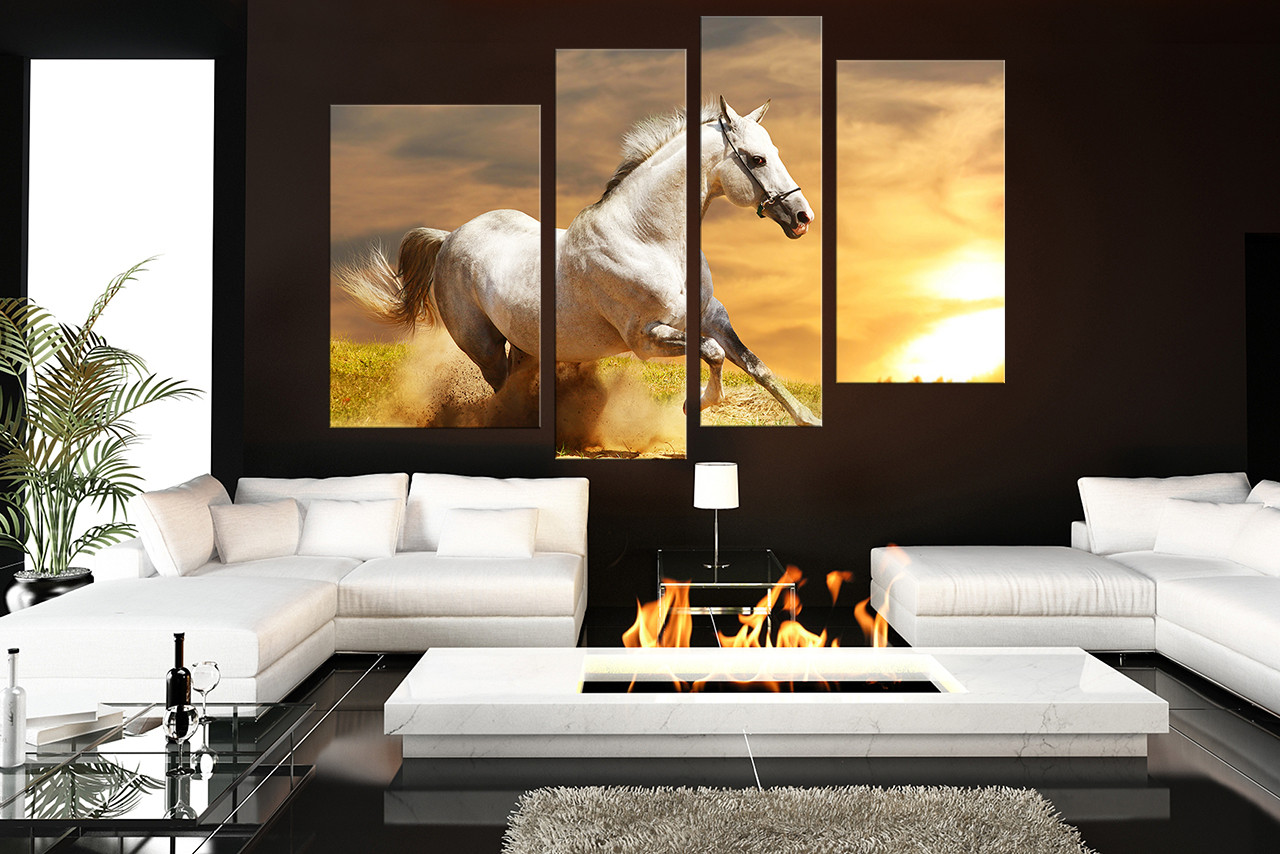 4 Piece Group Canvas, Living Room Canvas Print, Horse Canvas Photography,  Animal Multi