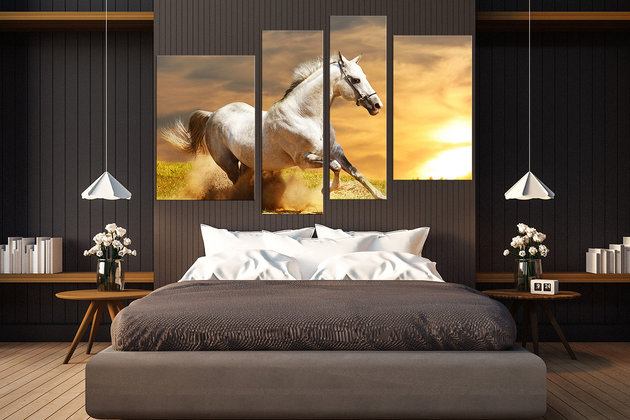 Bedroom Canvas Prints 4 piece canvas photography, wildlife artwork, white horse canvas