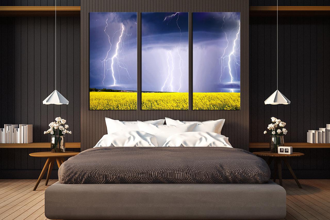 3 Piece Multi Panel Canvas Scenery Huge Canvas Art Purple Canvas Art Prints Thunderstorm