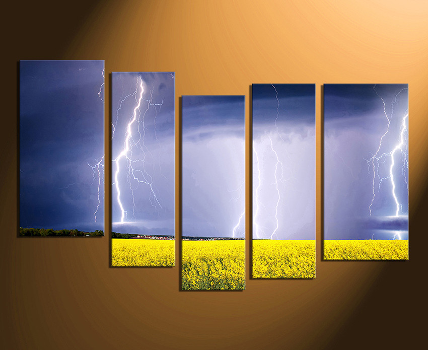 5 piece artwork scenery group canvas purple canvas wall art thunderstorm canvas art prints. Black Bedroom Furniture Sets. Home Design Ideas
