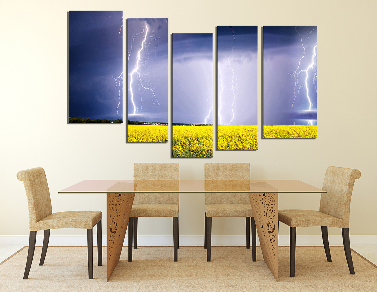 5 Piece Group Canvas, Dining Room Artwork, Scenery Huge Canvas Art, Purple  Canvas