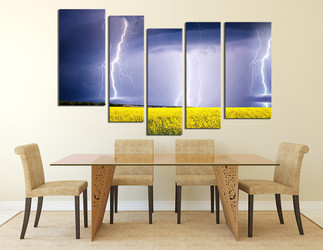 5 piece group canvas, dining room artwork, scenery huge canvas art, purple canvas art prints, thunderstorm multi panel canvas