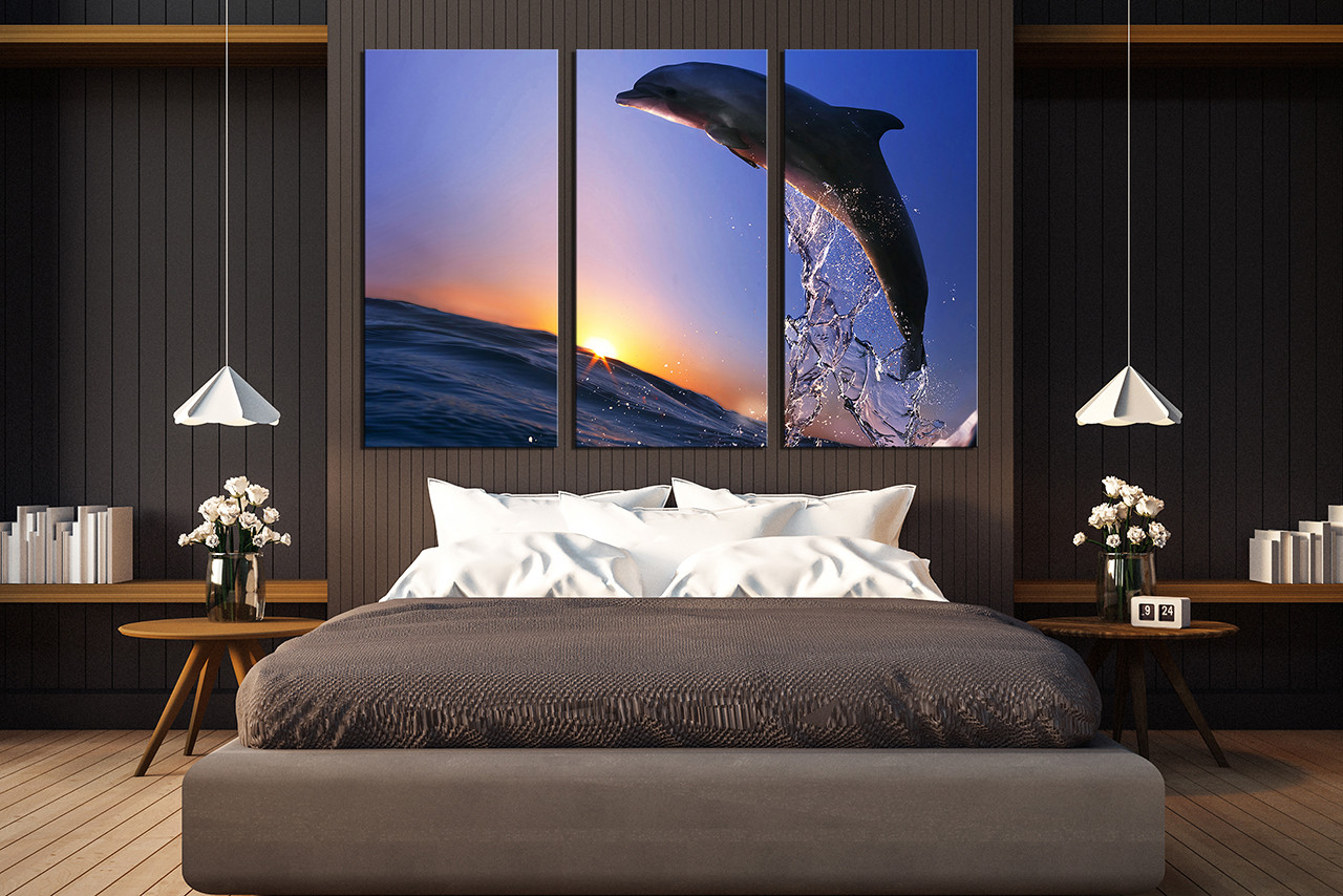 3 Piece Wall Decor, Bedroom Canvas Print, Fish Multi Panel Canvas, Dolphin  Large