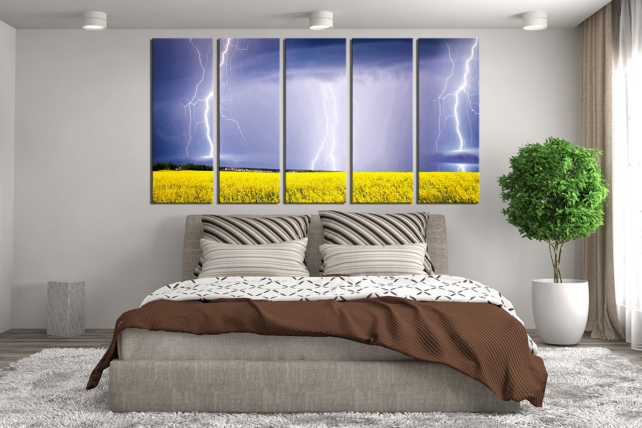 5 piece multi panel art scenery canvas wall art purple canvas photography thunderstorm wall decor. Black Bedroom Furniture Sets. Home Design Ideas
