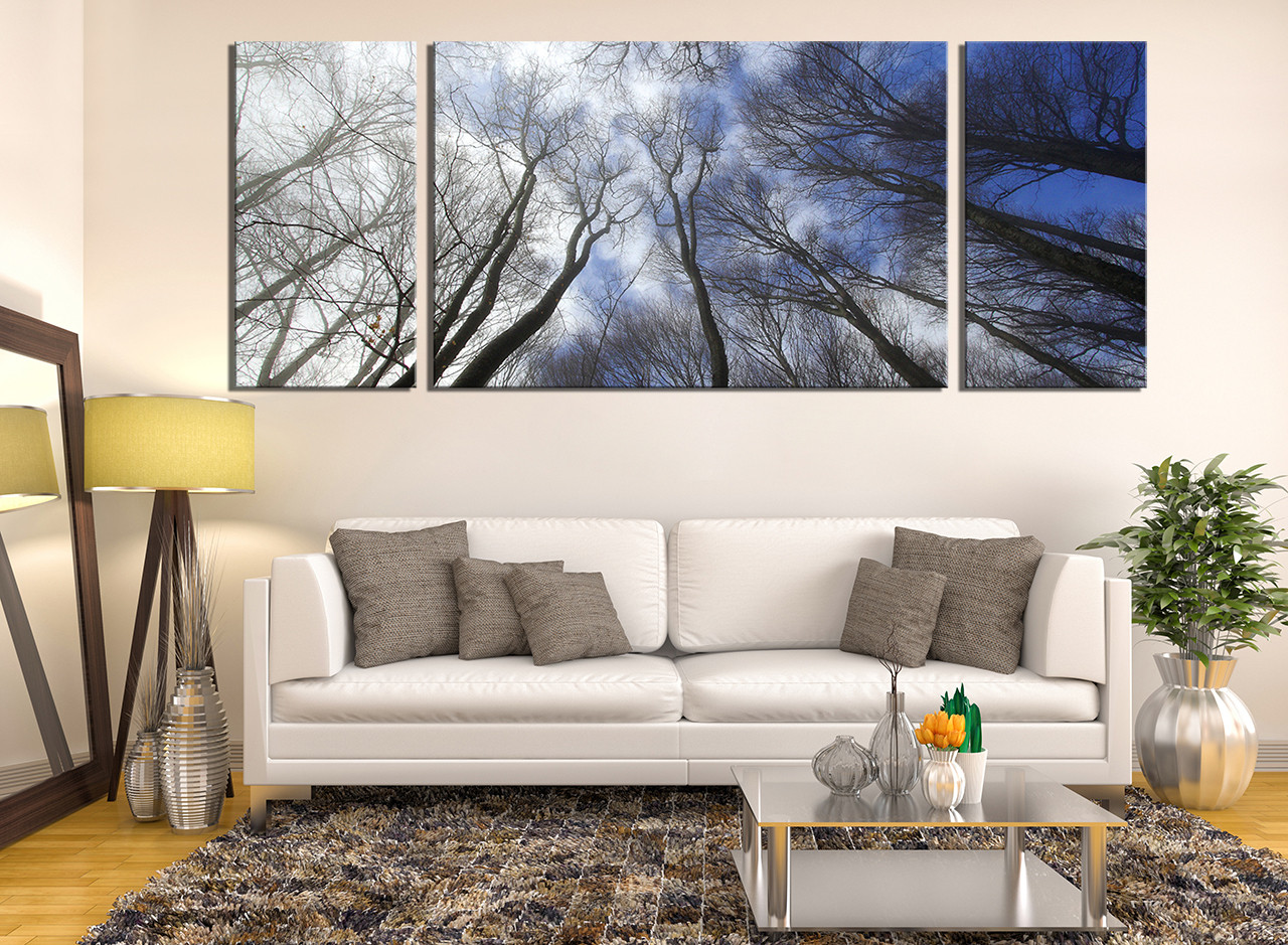 3 Piece Canvas Wall Art, Scenery Multi Panel Canvas, Blue Canvas ...