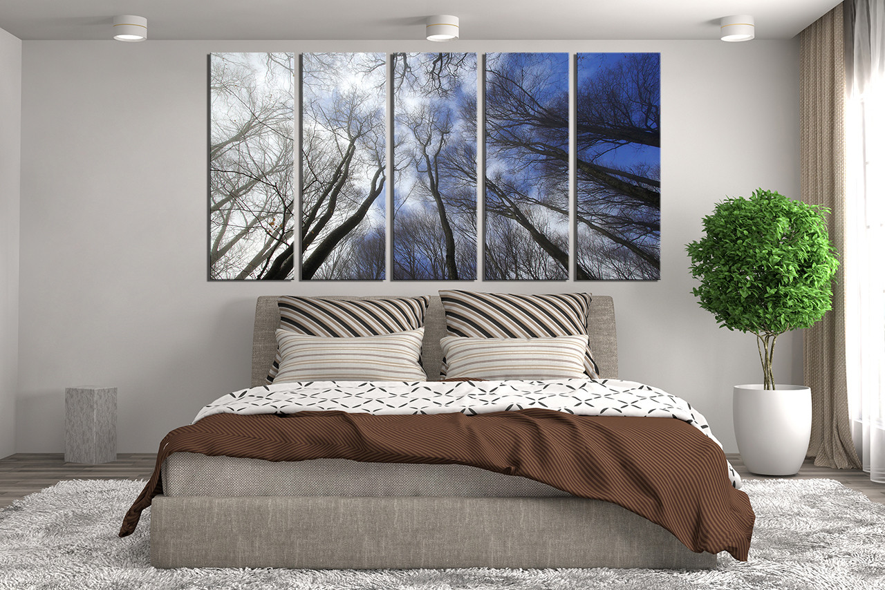 5 Piece Wall Decor, Scenery Huge Pictures, Blue Canvas
