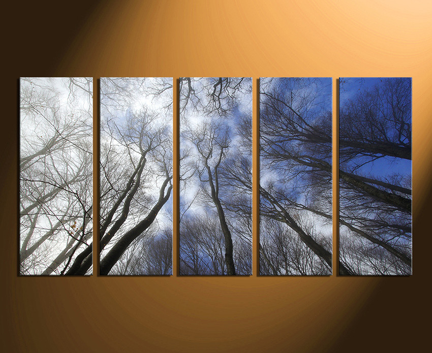 Tree Canvas Wall Art 5 piece wall decor, scenery huge pictures, blue canvas wall art