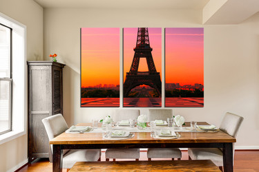 3 piece wall decor, dining room canvas photography, city artwork, orange photo canvas, eiffel tower art