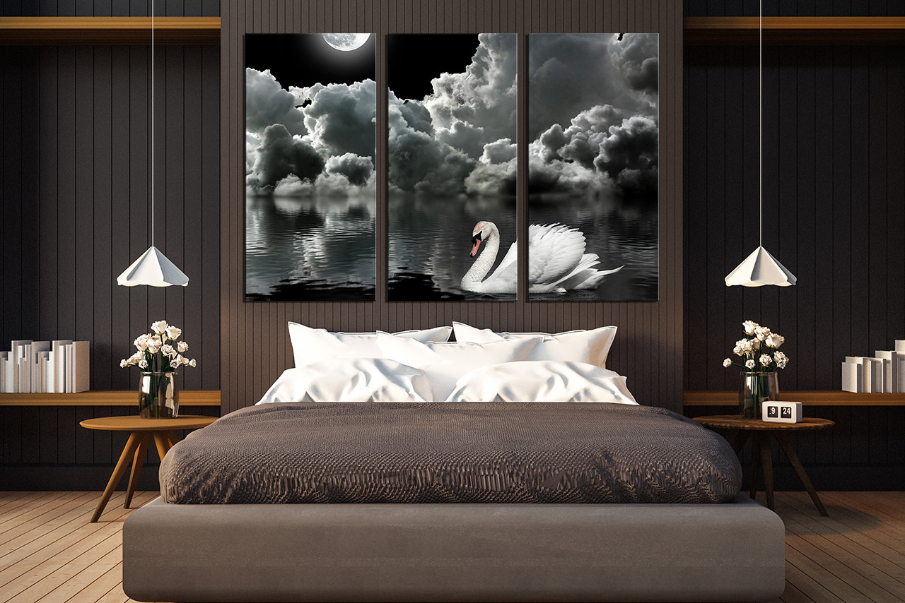 3 Piece Canvas Wall Art Grey Photo Canvas Cloud Wall