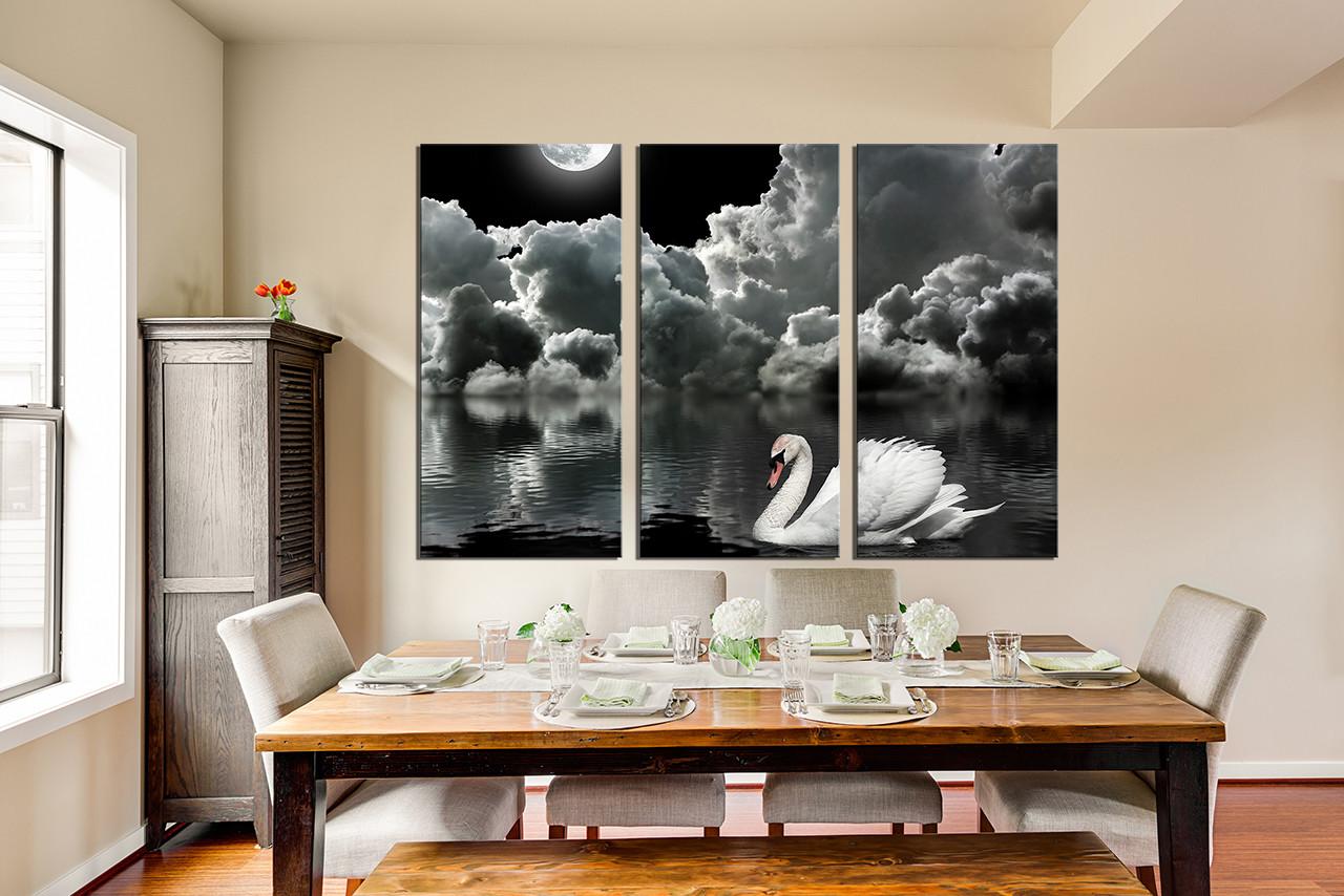 3 Piece Canvas Wall Art, Grey Photo Canvas, Cloud Wall Decor ...