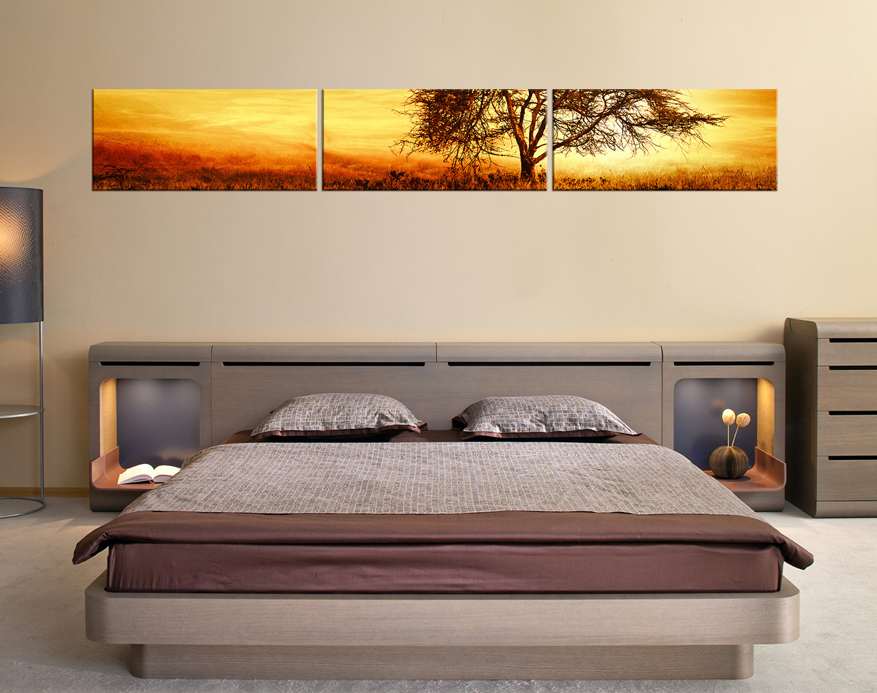 3 piece canvas art prints scenery wall decor yellow multi panel canvas tree huge pictures. Black Bedroom Furniture Sets. Home Design Ideas