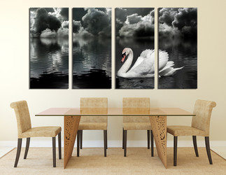 4 piece photo canvas, dining room huge pictures, black and white canvas wall art, swan huge canvas art