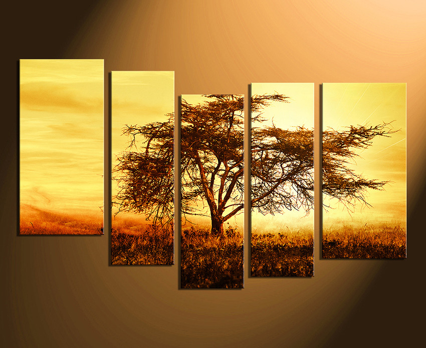 5 Piece Canvas Photography, Scenery Multi Panel Art, Yellow Canvas ...