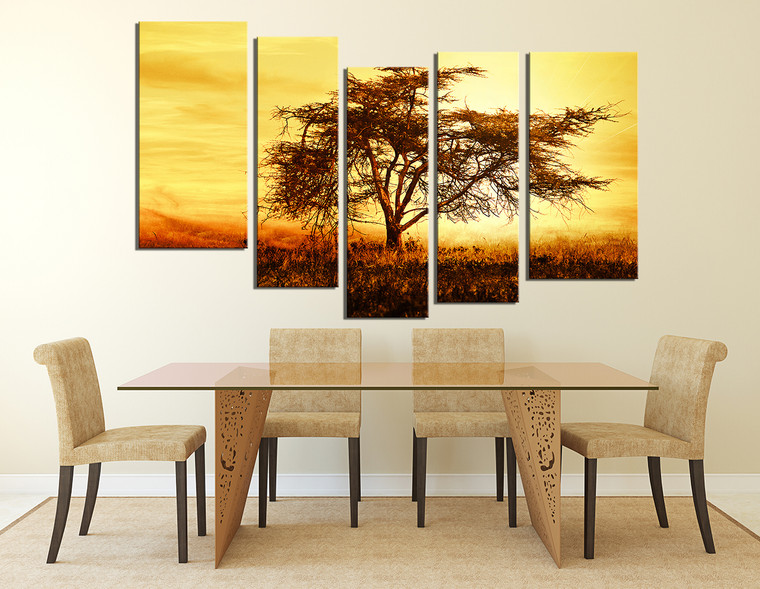 5 Piece Canvas Photography, Scenery Multi Panel Art, Yellow Canvas Wall Art,  Tree Art, Autumn Canvas Art Prints