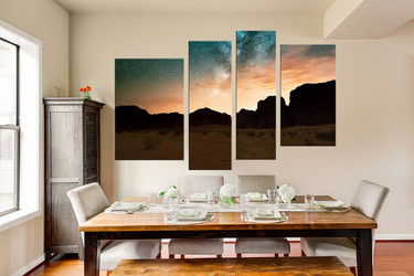 4 piece large pictures, brown mountain art, dining room canvas wall art, landscape photo canvas