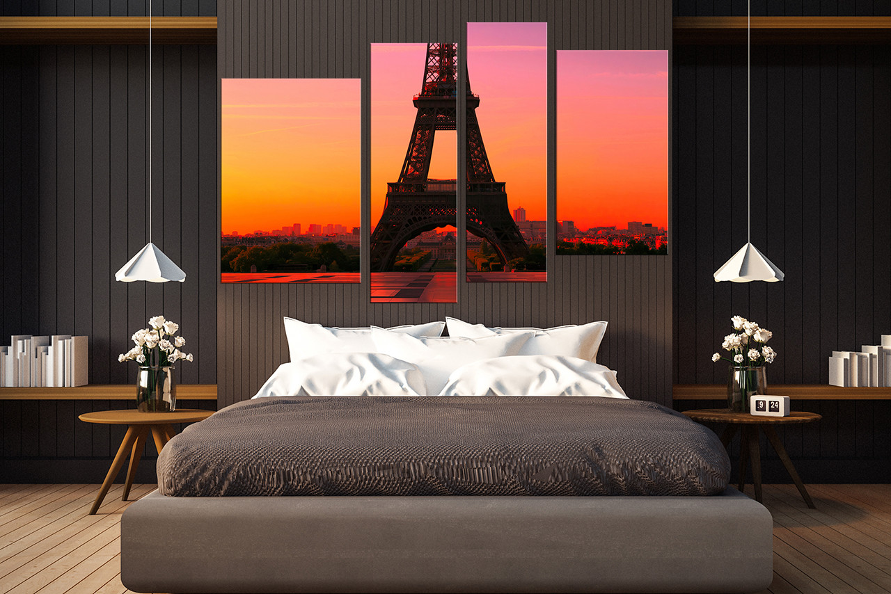 4 Piece Wall Art, Bedroom Wall Decor, Eiffel Tower Large Pictures, City  Large