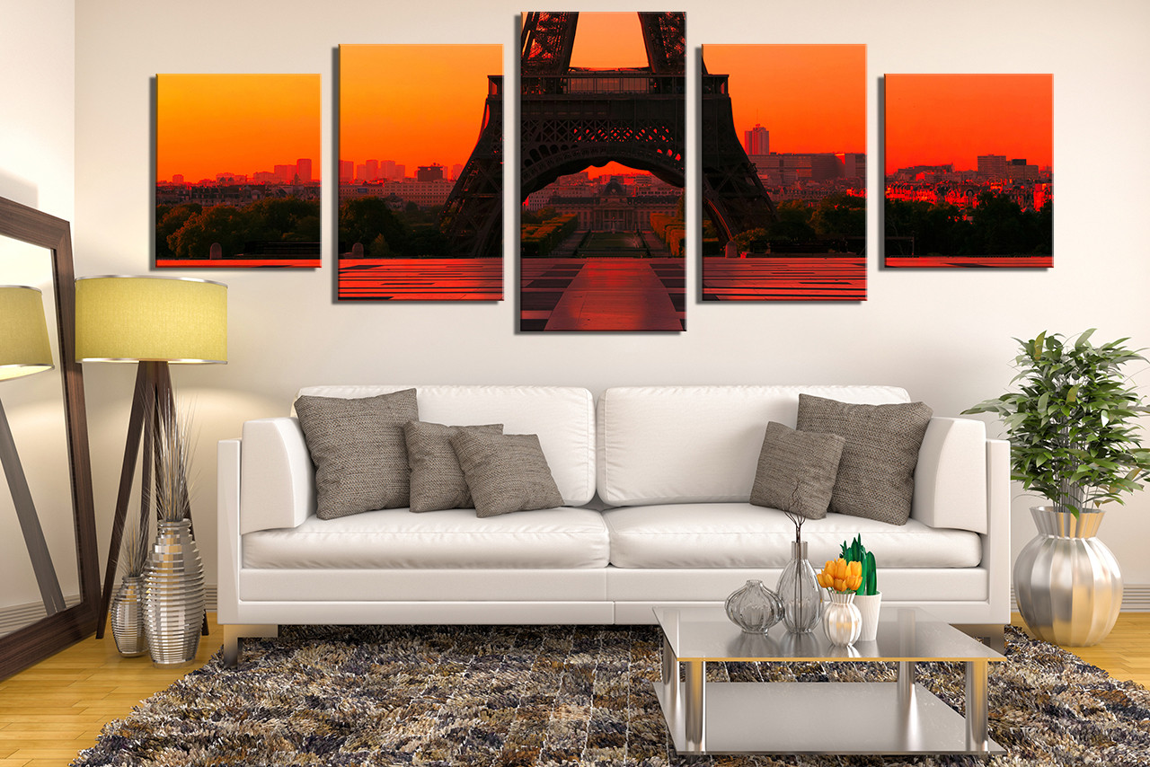 5 Piece Wall Decor, Eiffel Tower Canvas Photography, Orange Wall Art, City  Canvas