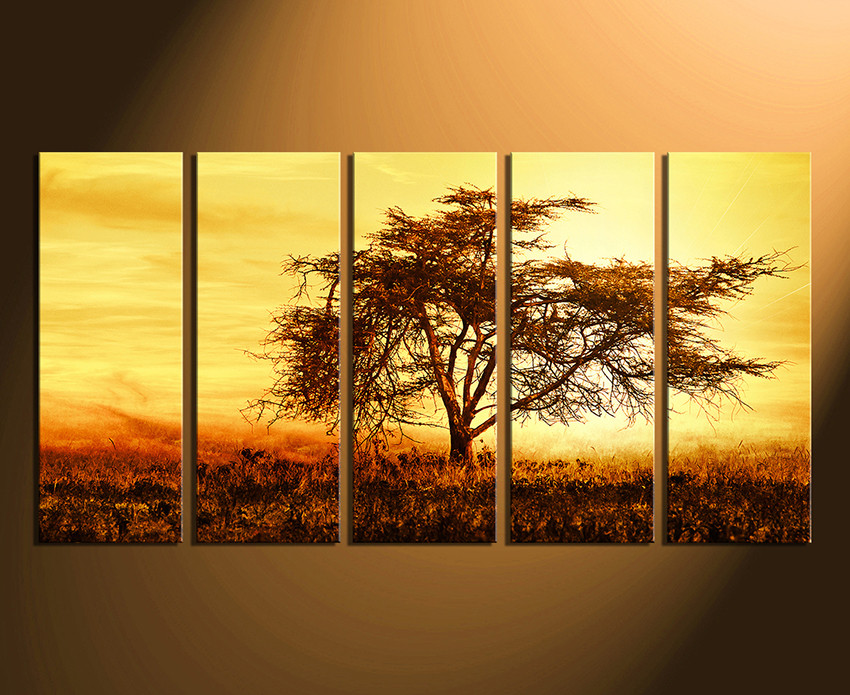 5 Piece Multi Panel Canvas, Scenery Large Pictures, Yellow Canvas ...