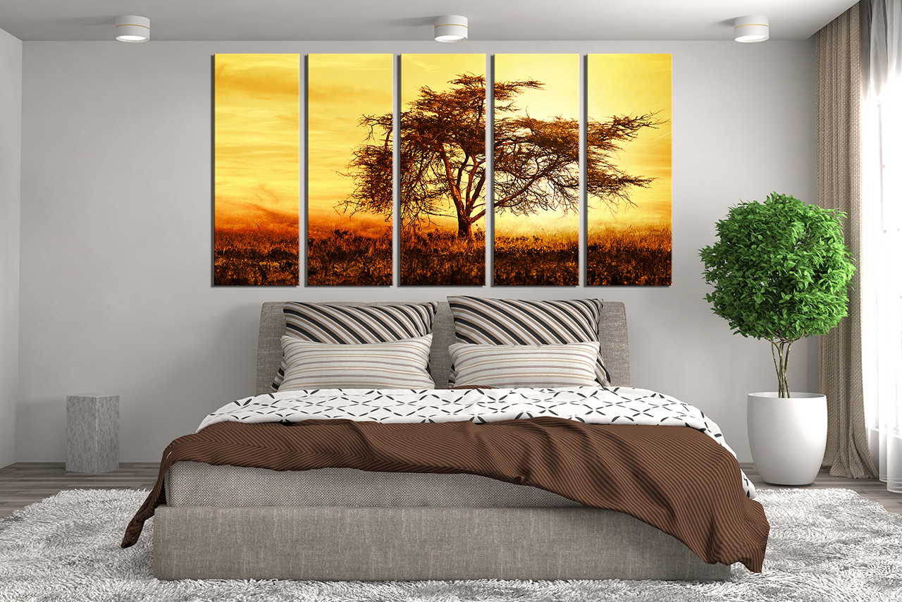 Tree Canvas Wall Art 5 piece multi panel canvas, scenery large pictures, yellow canvas