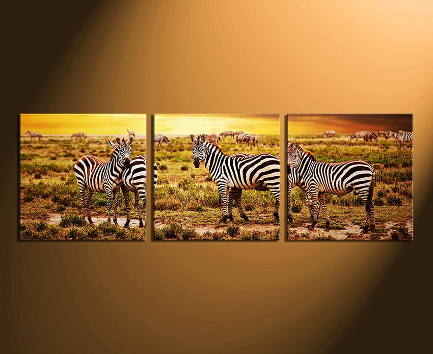 3 piece canvas wall art home decor wildlife canvas photography zebra canvas print & 3 Piece Canvas Wall Art Yellow Huge Canvas Print Zebra Photo ...
