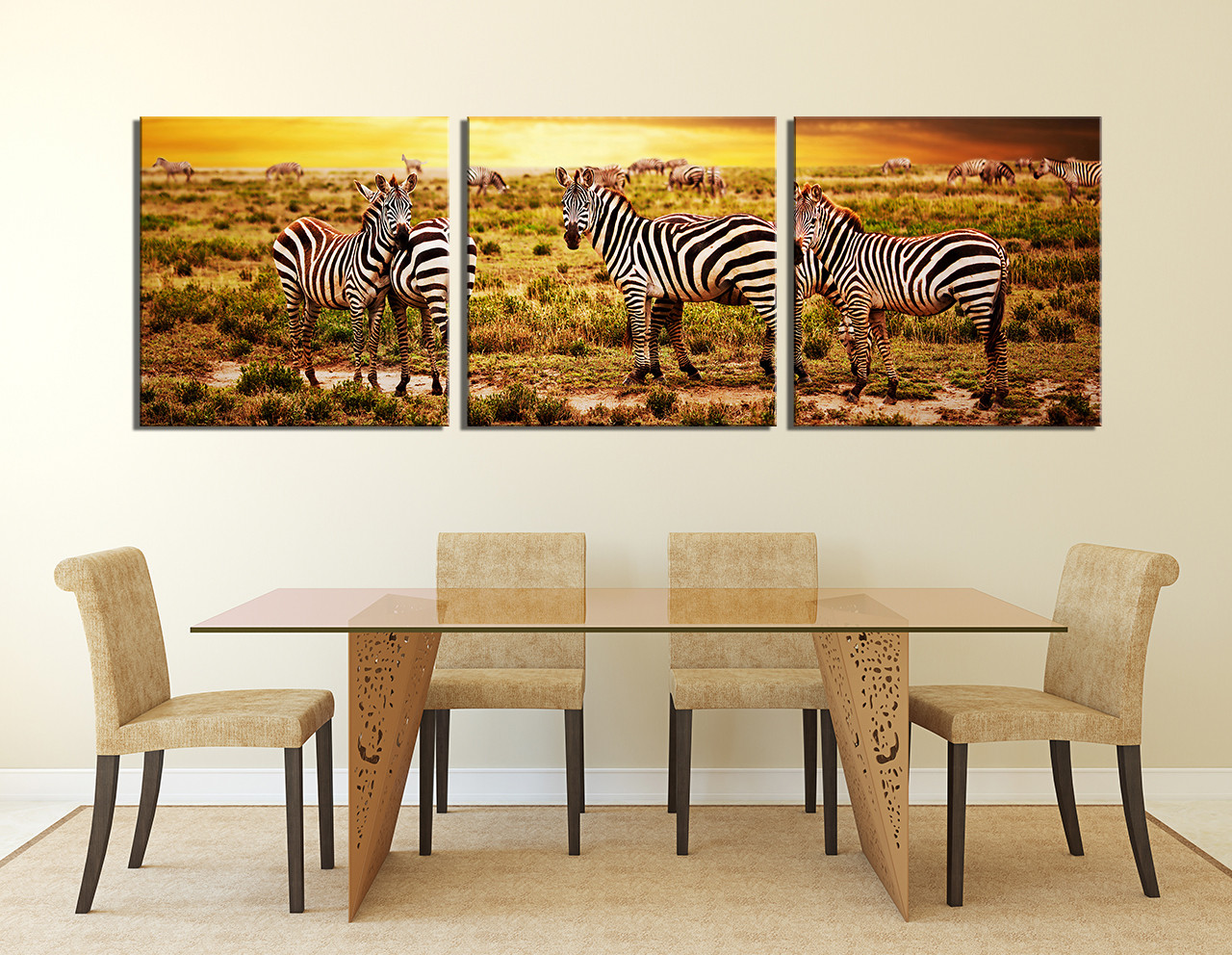3 Piece Photo Canvas, Dining Room Wall Decor, Zebra Huge Canvas Print,  Wildlife