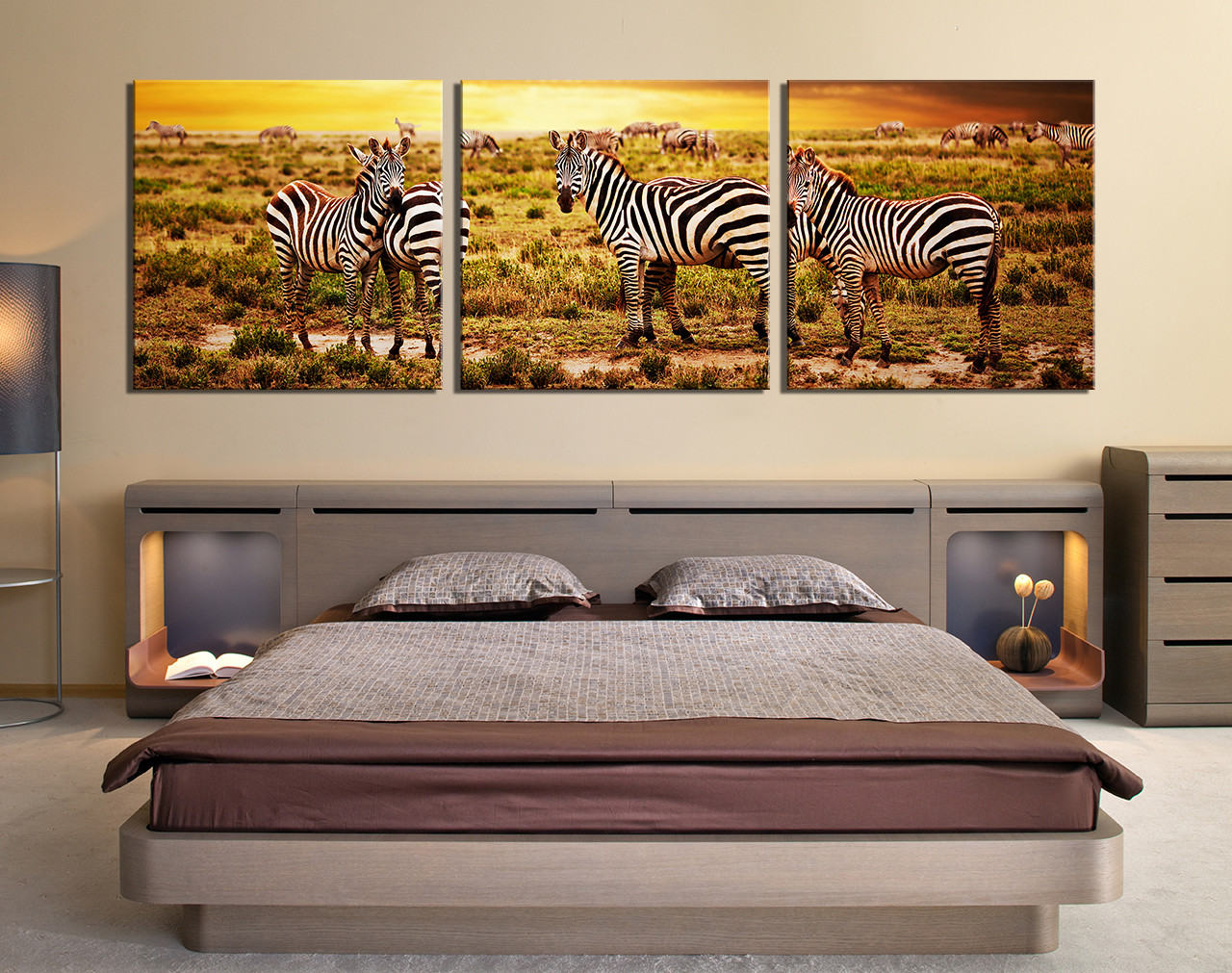 3 Piece Large Pictures, Bedroom Canvas Wall Art, Zebra Group Canvas, Animal  Art