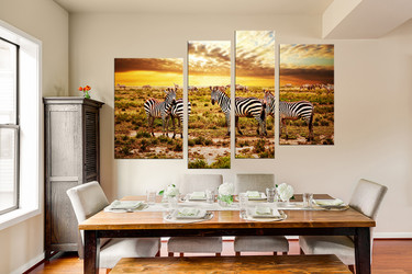 4 piece large canvas, dining room canvas wall art, zebra group canvas, yellow wildlife artwork, animal art