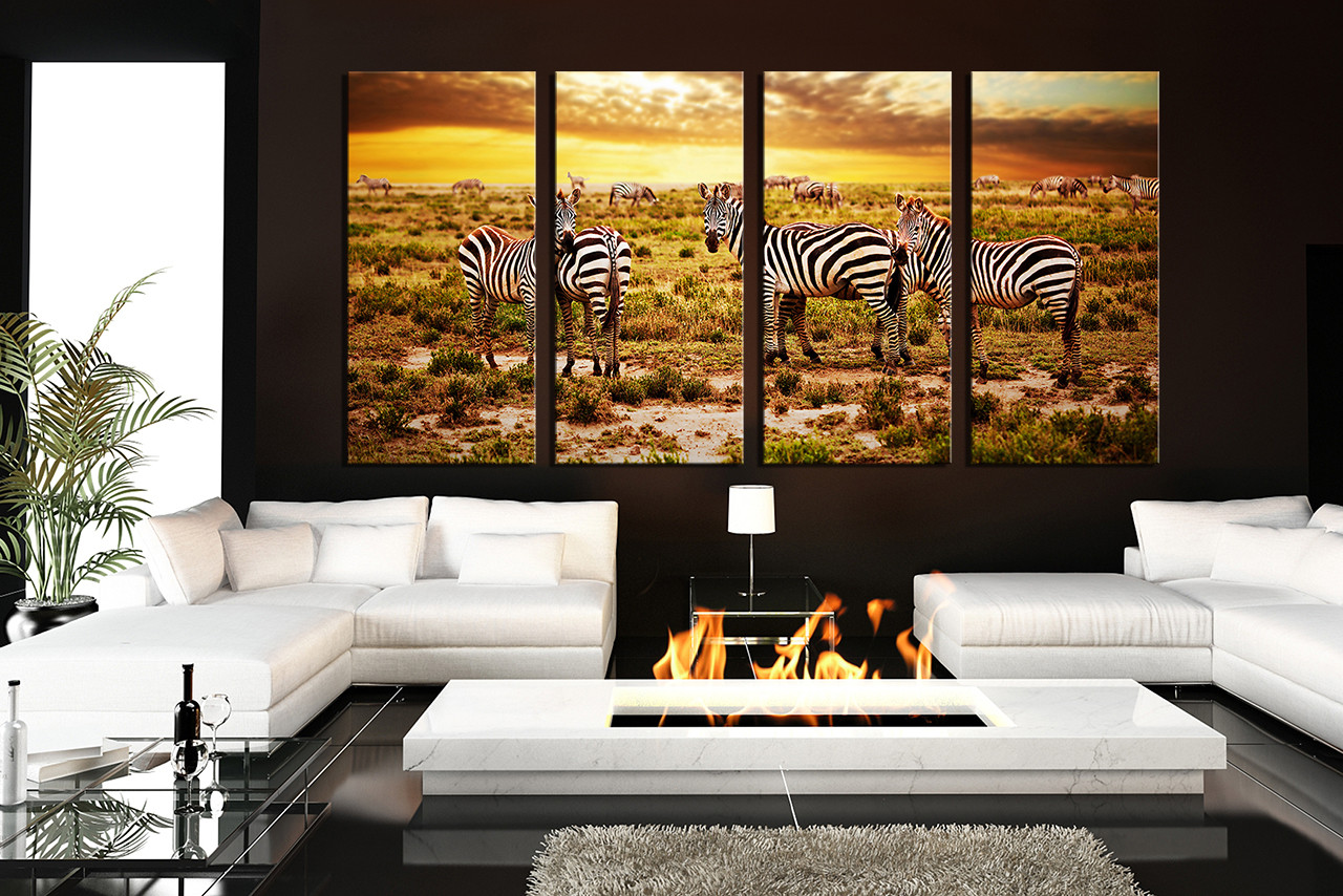 4 piece group canvas living room canvas wall art yellow wildlife canvas print & 4 Piece Multi Panel Canvas Zebra Canvas Wall Art Yellow Photo ...