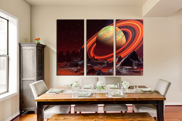 3 piece canvas wall art, dining room wall decor, landscape huge pictures, orange artwork, saturn canvas print, mountain huge canvas art