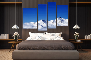 4 piece large pictures, bedroom multi panel canvas, white snow artwork, landscape huge canvas print