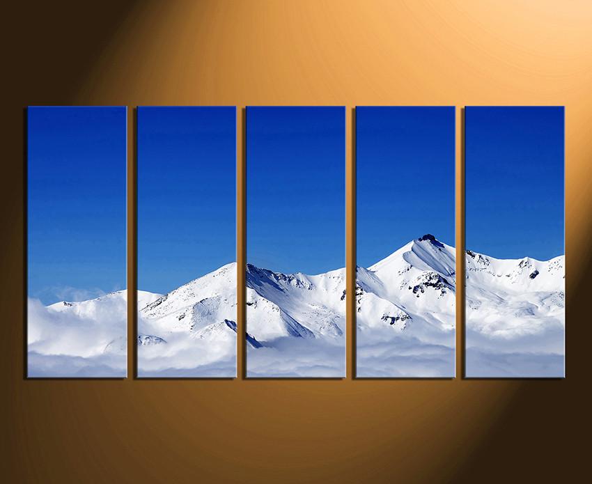 5 Piece Canvas Print, White Mountain Canvas Wall Art, Blue Sky Multi ...