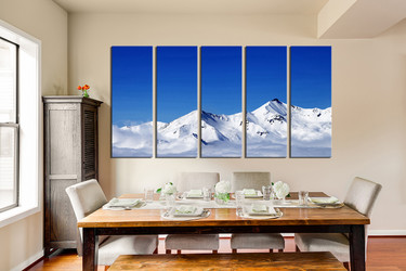 5 piece wall decor, white snow group canvas, dining room canvas wall art, landscape art