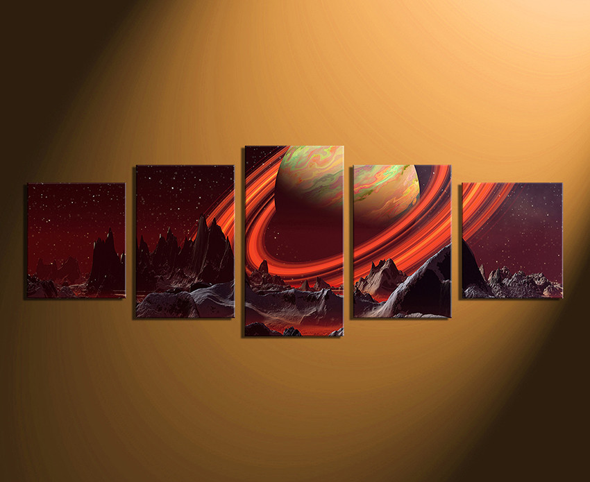 Canvas Wall Decor 5 piece artwork, landscape large pictures, orange canvas wall art