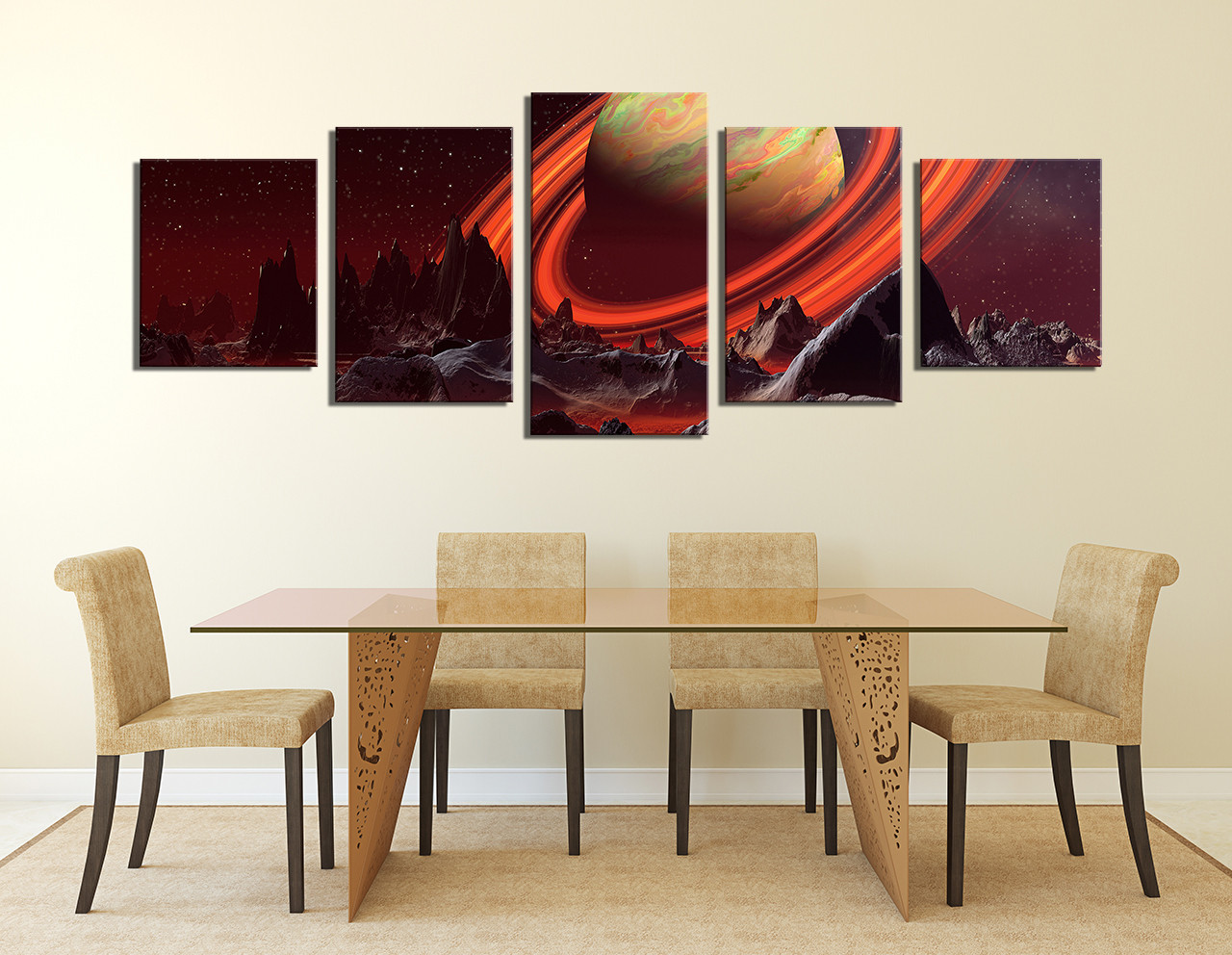 High Quality 5 Piece Artwork, Dining Room Canvas Wall Art, Landscape Large Canvas,  Orange Huge