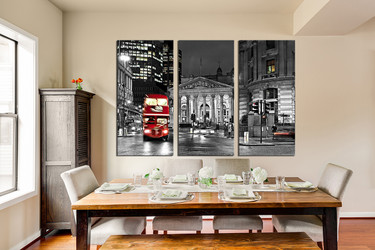 3 piece wall decor, dining room photo canvas, black and white city, red bus huge pictures, grey art