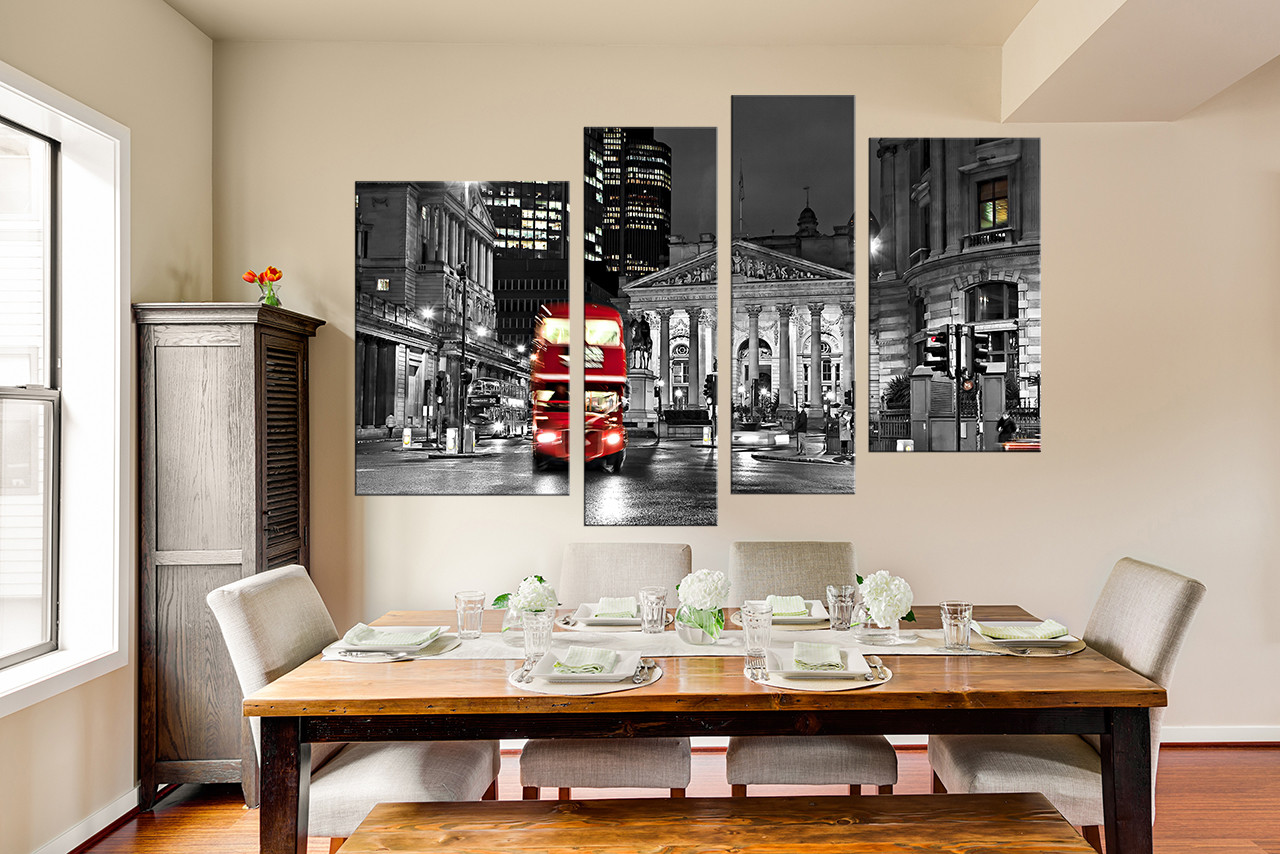 4 Piece Multi Panel Art, Dining Room Artwork, Red Bus Wall Decor, City