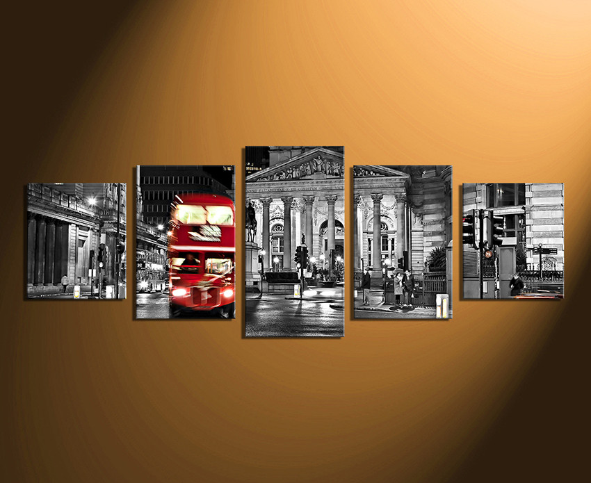 5 piece photo canvas black and white city city artwork city home decor