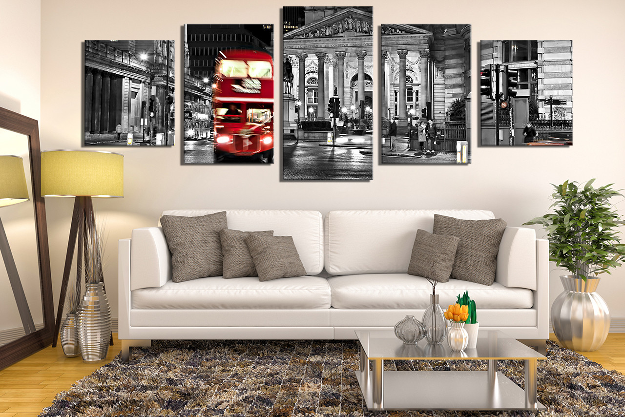 5 Piece Huge Pictures, Panoramic Multi Panel Canvas, Red