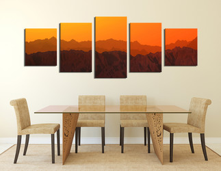 5 piece wall art, dining room huge pictures, orange sky art, mountain group canvas, landscape huge pictures