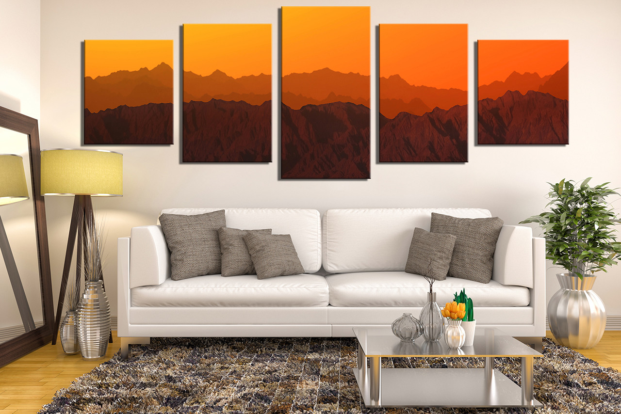 5 piece canvas wall art panoramic huge canvas print landscape multi panel art mountain canvas. Black Bedroom Furniture Sets. Home Design Ideas