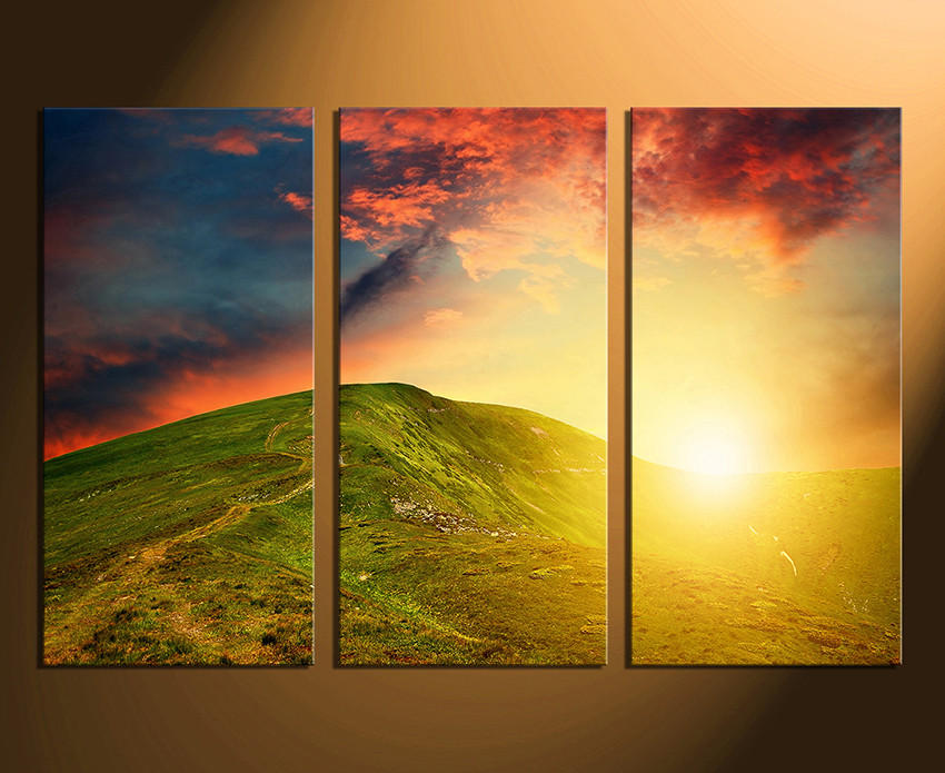 3 Piece Canvas Photography, Landscape Multi Panel Canvas, Orange ...