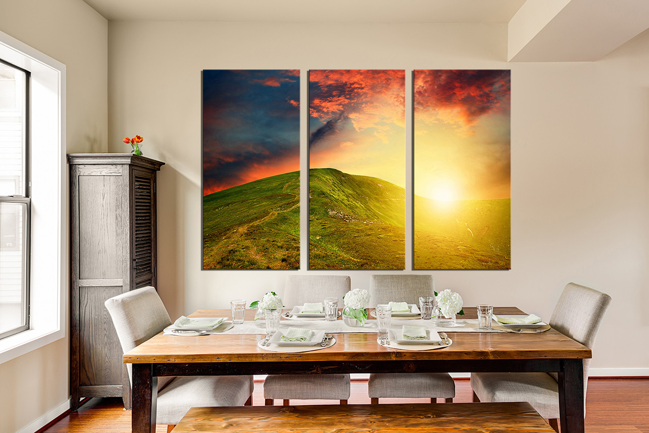 Great 3 Piece Huge Canvas Art, Dining Room Multi Panel Canvas, Landscape Canvas  Art Prints