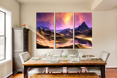 3 piece canvas art prints, purple sky wall art, dining room large pictures, landscape photo canvas