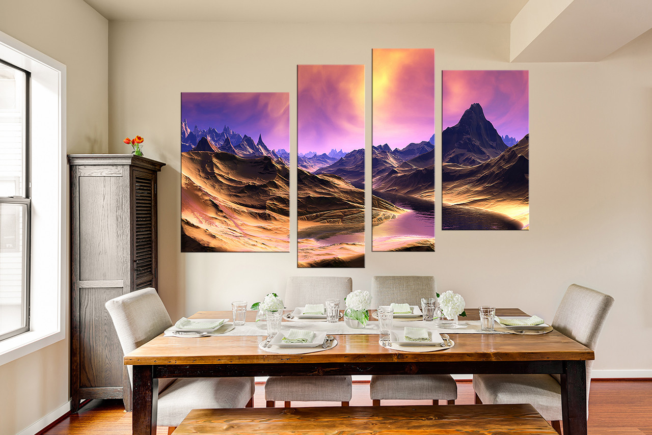 4 piece photo canvas mountain purple large pictures for Purple dining room wall art