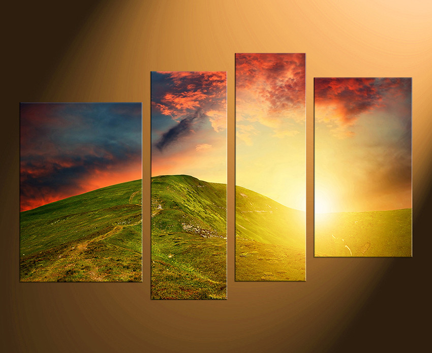 4 Piece Multi Panel Art, Landscape Photo Canvas, Orange Canvas Wall ...
