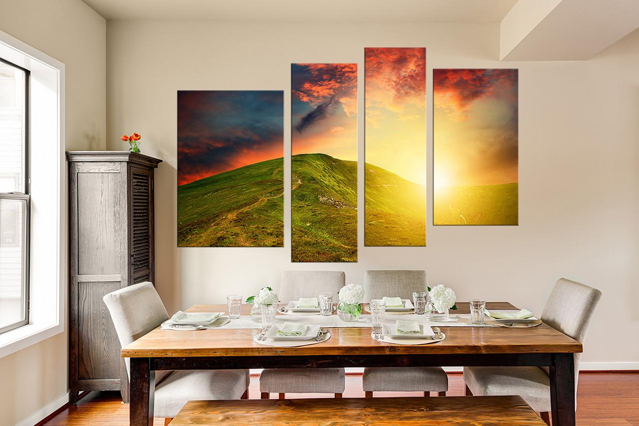 4 Piece Multi Panel Art, Landscape Photo Canvas, Orange Canvas Wall ...